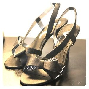 Nina Black Bow Heels with Rhinestones